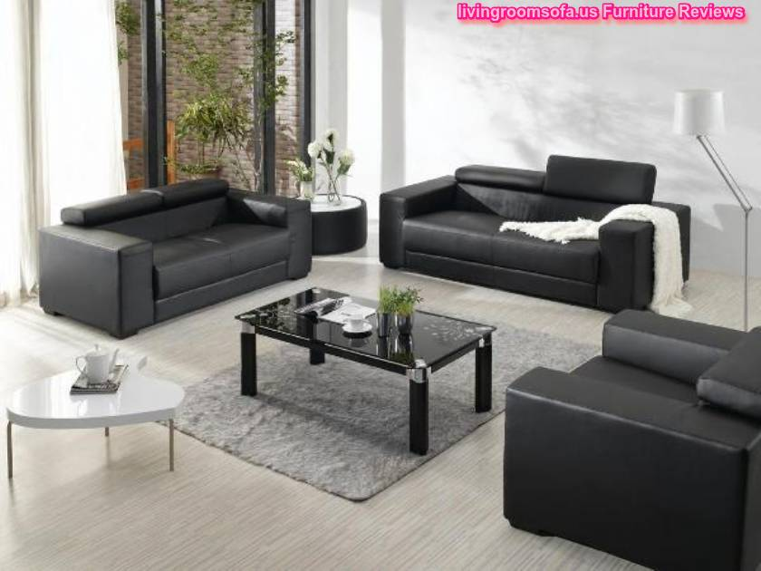 Black leather sofa set for living room design for Living room ideas with black leather sofa
