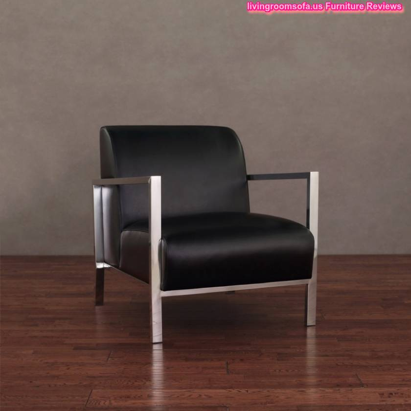 Black leather accent chair for living room design for Black accent chairs for living room