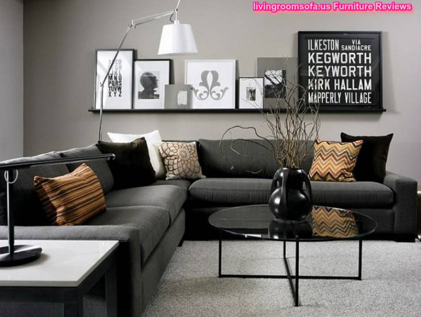Black living room furniture dark gray corner sofa for Black living room furniture