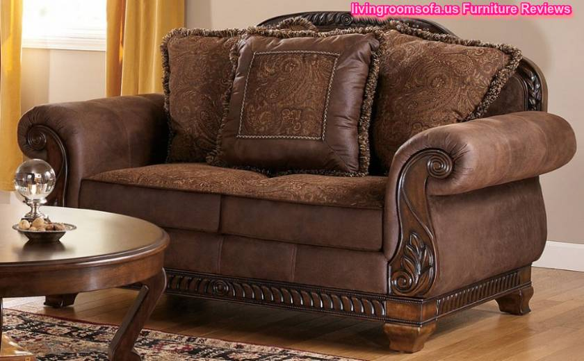 Carved wood classic sofa ashley furniture