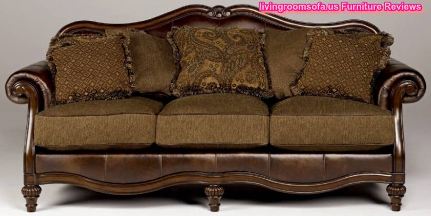 Classic carved oak wood leather sofa design