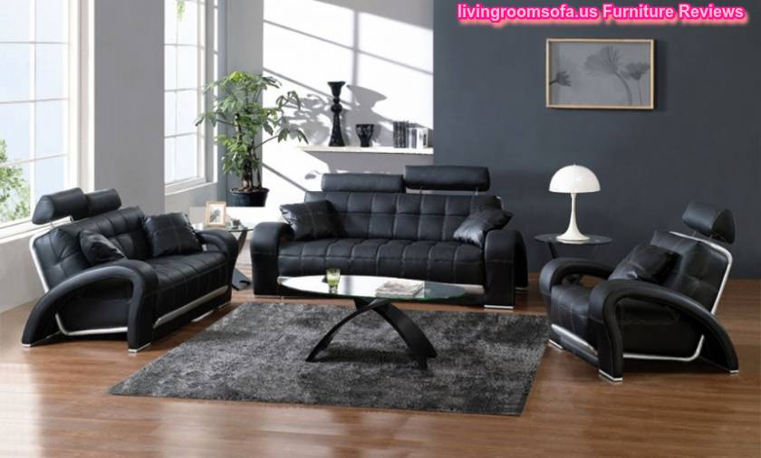 astounding living room black leather sofa | Modern Black Leather Sofa Set Amazing Living Room Design