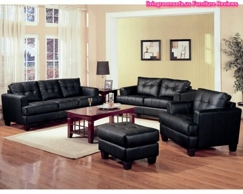 Modern black leather sofa set living room design - Black sofas living room design ...