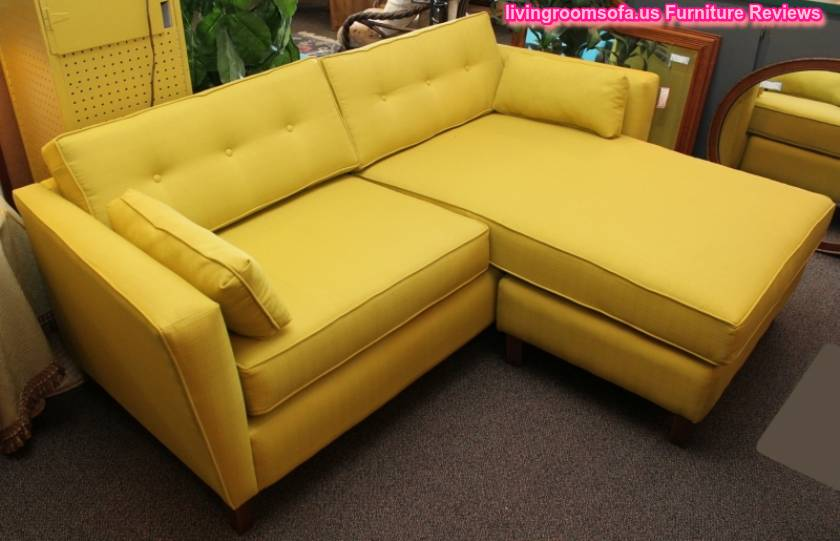 modern yellow apartment size sectional sofa