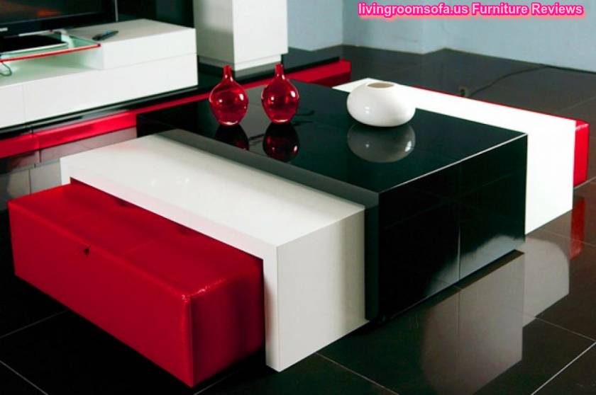 Wood Coffee Table Balck And White And Red Couple Ottomans
