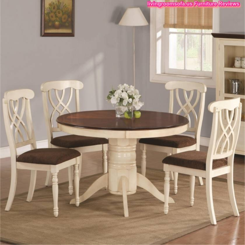 Wood round table and chairs casual dining room furniture for Casual dining room tables