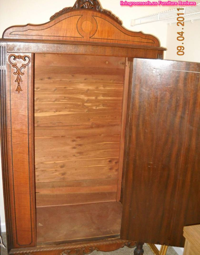 Antique Armoire Wardrobe Carved Wood