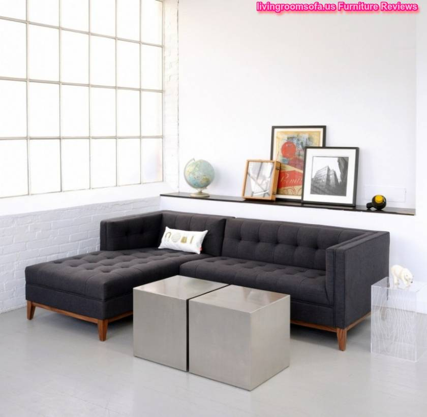 Black Fabric Apartment Sectional Sofa L Shaped With Tufted