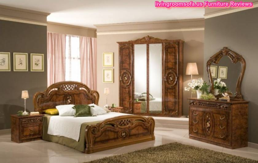 Classic Italian Bedroom Furniture With Pink Color Decorations