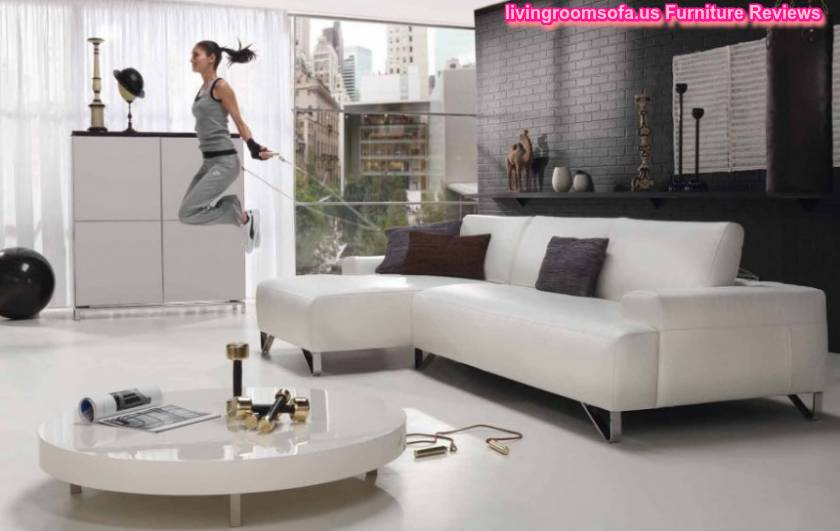 Comfortable White Leather Apartment Sectional Sofa Design Ideas