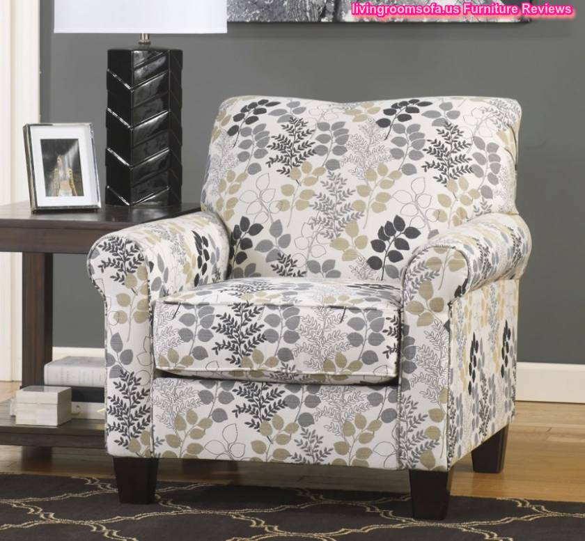 Floral Patterned Fabric Accent Arm Chair