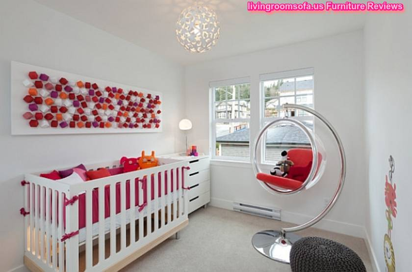 Funny Modern Kids Room With Bubble Chair And Cradle Also Cool Wall Hangings  And Chest Of Drawer