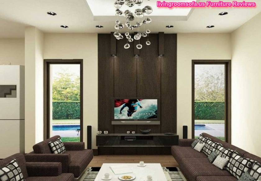 Impressive Brown Living Room With Stylish Ceiling Lamps Concept