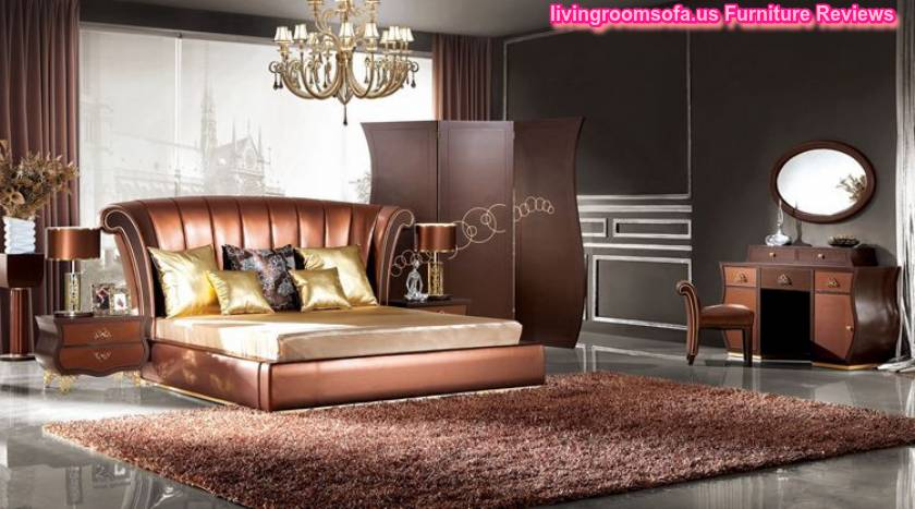 Italian Design Bedroom Furniture Leather Bed Night Stand Modern Soft