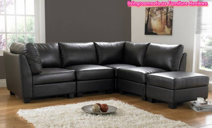 L Shaped Black Leather Sofa Living Room Design