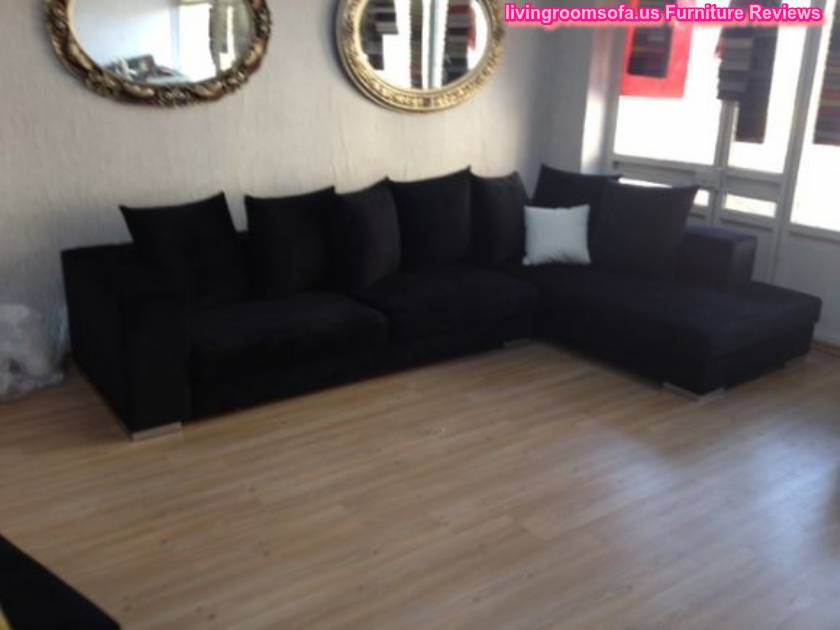 L shaped black sofa modern living room apartment size for L shaped apartment design