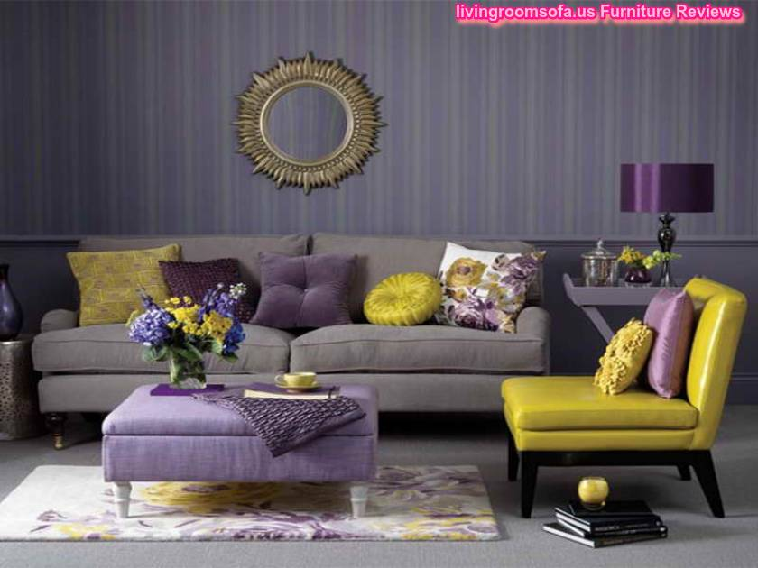 living room accent chairs with yellow and purple