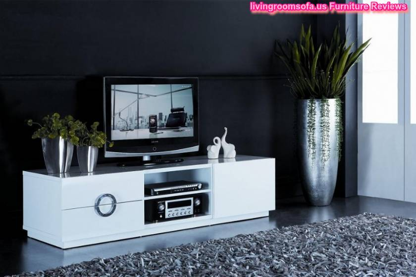 Marvelous White Contemporary Modern Tv Stands With Fur Rug Ideas