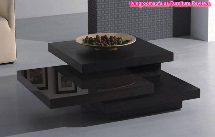 Modern Black Wood Coffee Table Square Design