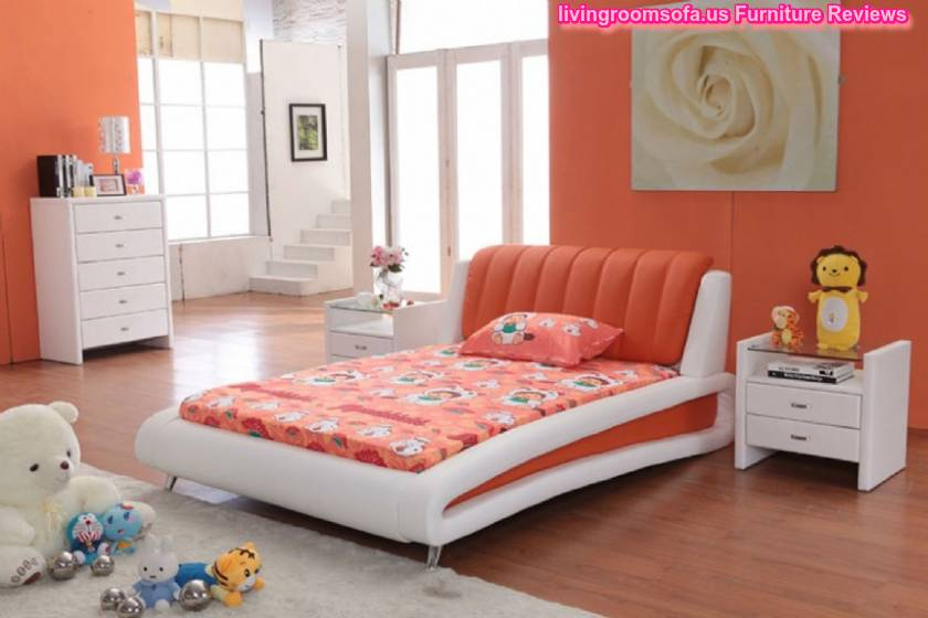 Modern bedroom bed sets ideas for White and orange bedroom designs