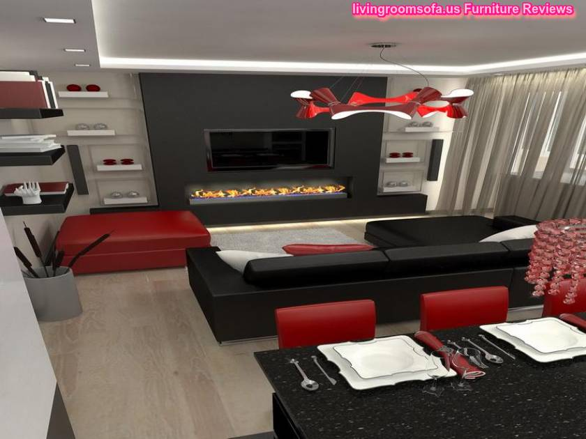 Red and black living room design ideas for Black and grey living room decorating ideas