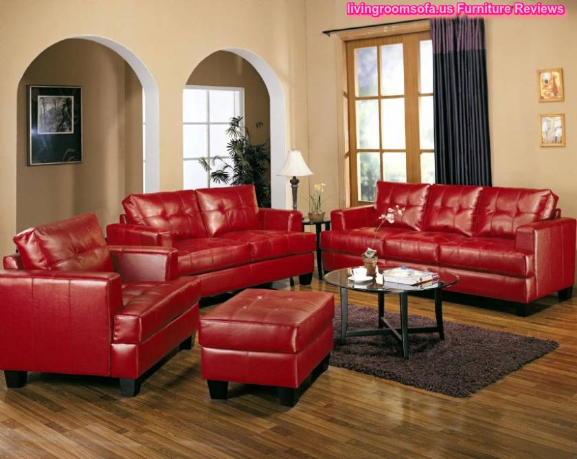 Red Leather Ashley Furniture Living Room Sets