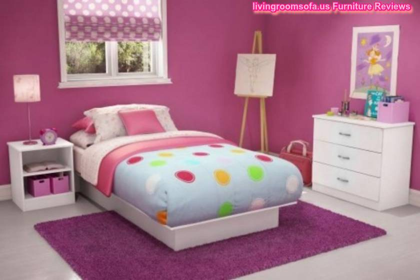 Small White Dresser Furniture Minimalist Children Bedroom Kids Bedroom Ideas Purple Wall With Simple Bedding Style