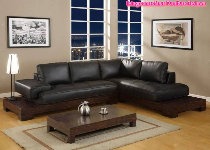 Stylish black leather living room l shaped sofa design for Black leather sofa living room ideas