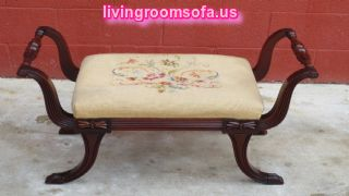 Amazing Bench Antique Wooden Fabric Carved