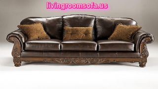 Amazing Classic Sofa Leather Black Carved