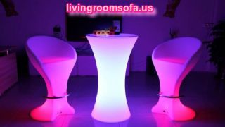 Amazing Led Light High Bar Tables Cocktail Tables