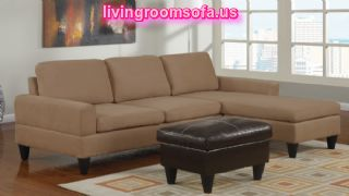 Beige Apartment Size Sectional Sofa L Shaped Small