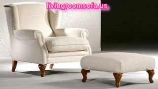 Beige Chair With Ottoman For Living Room