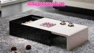 Black And White Modern Shiny Wood Coffee Table Boxed