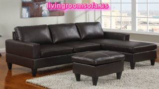 Black Leather Apartment Size Sectional Sofa