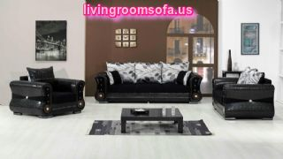 Black Leather Living Room Sofa Set Design