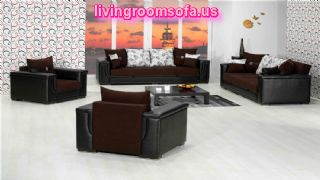 Black Leather Living Room Sofa Set With Sofa Beds
