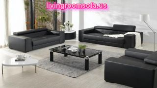 Black Leather Sofa Set For Living Room Design