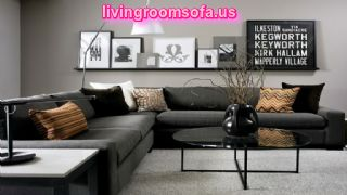 Black Living Room Furniture Dark Gray Corner Sofa