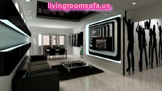 Black And White Living Room Design Sofa Wall Unit Table Chairs