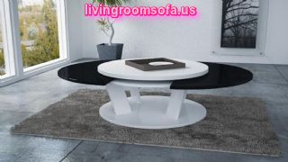Black And White Wood Round Coffee Table