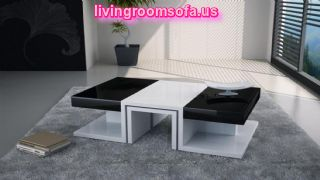 Black And White Shining Wood Coffee Table