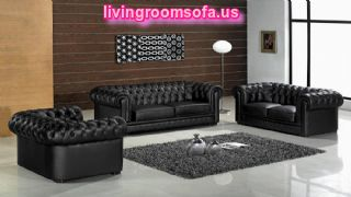 Black Chesterfield Leather Sofa Set Living Room Design
