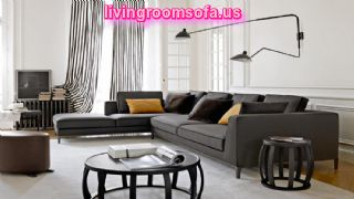 Black Dark Gray Leather L Shaped Living Room Sofa