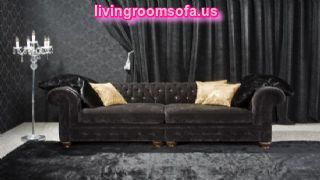 Black Fabric Chesterfield Couch For Living Room Design