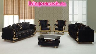 Black Luxury Sofa Sets Leaf Wooden Black Velvet Fabric