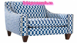 Blue And White Patterned Accent Arm Chair