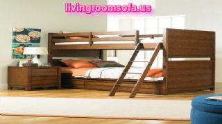 Brown And Double-decker Children Furniture Designs