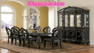 Casual Wooden Dining Room Furniture Black Design