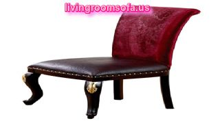 Classic Chair Red Velvet Brown Leather